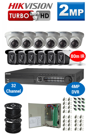 2MP Custom HIKVISION Turbo HD Package - 4MP 32Ch DVR, 12x 80m IR Bullet & Dome Cameras