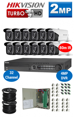 2MP Custom HIKVISION Turbo HD Package - 4MP 32Ch DVR, 12x 80m IR Bullet Cameras