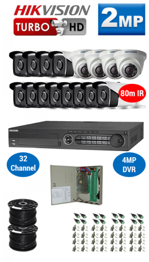 2MP Custom HIKVISION Turbo HD Package - 4MP 32Ch DVR, 16x 80m IR Bullet & Dome Cameras