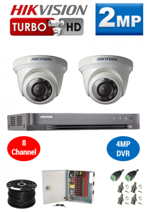 2MP Custom HIKVISION Turbo HD Package - 1080P 8Ch DVR, 2 Dome Cameras