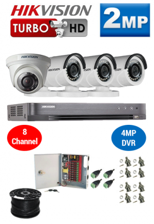 2MP Custom HIKVISION Turbo HD Package - 1080P 8Ch DVR, 4 Bullet & Dome Cameras