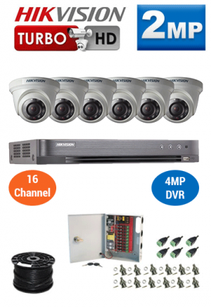 2MP Custom HIKVISION Turbo HD Package - 4MP 16Ch DVR, 6 Dome Cameras