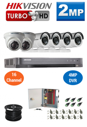 2MP Custom HIKVISION Turbo HD Package - 4MP 16Ch DVR, 6 Bullet & Dome Cameras