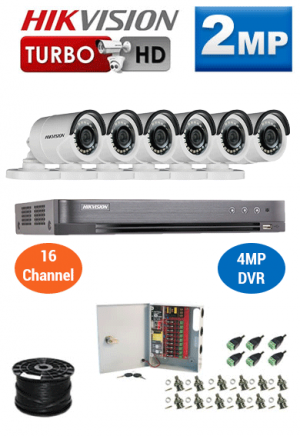 2MP Custom HIKVISION Turbo HD Package - 4MP 16Ch DVR, 6 Bullet Cameras