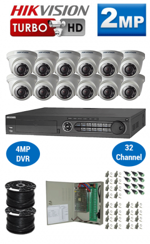 2MP Custom HIKVISION Turbo HD Package - 1080P 32Ch DVR, 12 Dome Cameras