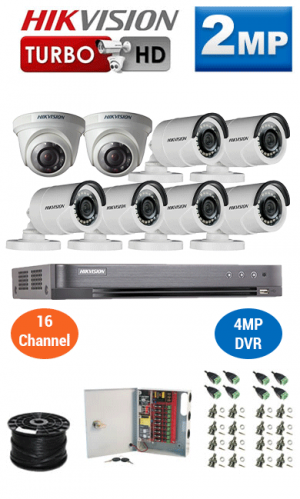 2MP Custom HIKVISION Turbo HD Package - 1080P 16Ch DVR, 8 Bullet & Dome Cameras