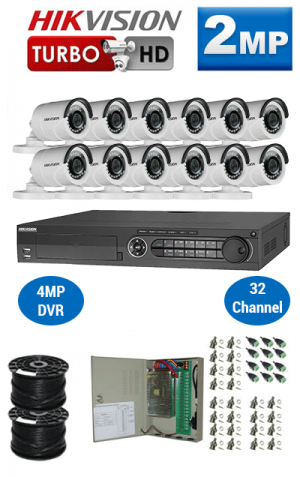 2MP Custom HIKVISION Turbo HD Package - 1080P 32Ch DVR, 12 Bullet Cameras