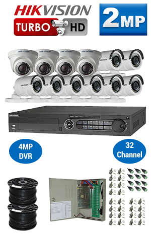 2MP Custom HIKVISION Turbo HD Package - 1080P 32Ch DVR, 12 Bullet & Dome Cameras