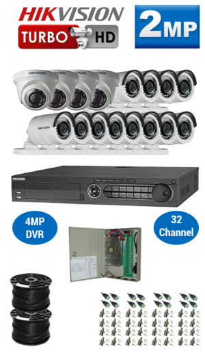 2MP Custom HIKVISION Turbo HD Package - 1080P 32Ch DVR, 16 Bullet & Dome Cameras