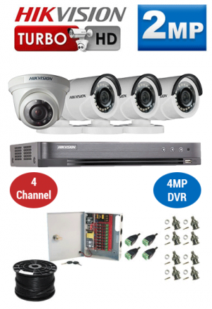 2MP Custom HIKVISION Turbo HD Package - 1080P 4Ch DVR, 4 Bullet & Dome Cameras
