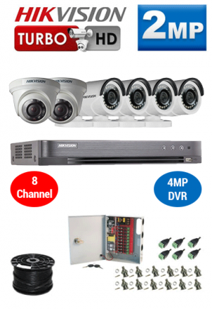 2MP Custom HIKVISION Turbo HD Package - 1080P 8Ch DVR, 6 Bullet & Dome Cameras