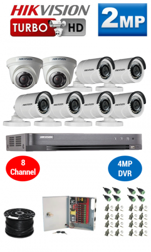 2MP Custom HIKVISION Turbo HD Package - 1080P 8Ch DVR, 8 Bullet & Dome Cameras
