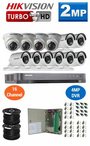 2MP Custom HIKVISION Turbo HD Package - 1080P 16Ch DVR, 12 Bullet & Dome Cameras