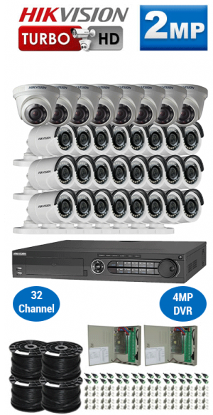 2MP Custom HIKVISION Turbo HD Package - 1080P 32Ch DVR, 32 Bullet & Dome Cameras