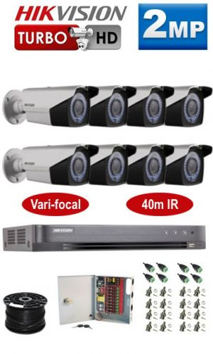 2MP Custom HIKVISION Turbo HD Package - 1080P 16Ch DVR, 8 Bullet Cameras