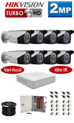 2MP Custom HIKVISION Turbo HD Package - 1080P Lite 8Ch DVR, 8 Bullet Cameras