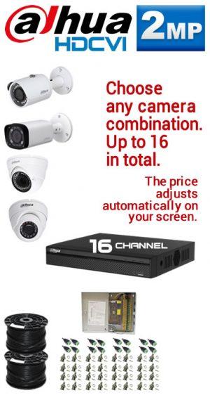 2MP Custom Dahua HDCVI Package - 1080P 16Ch DVR, Any Combination of up to 16 Cameras (SR)