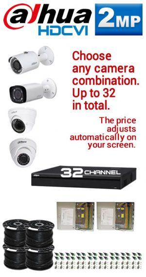 2MP Custom Dahua HDCVI Package - 1080P 32Ch DVR, Any Combination of up to 32 Cameras (SR)