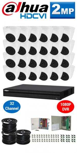 2MP Custom DAHUA Turbo HD Package - 1080P 32Ch DVR, 24 Dome Cameras