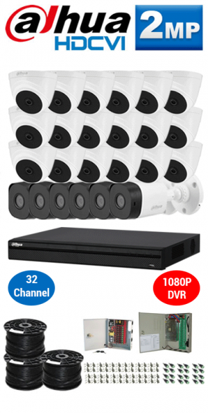 2MP Custom DAHUA Turbo HD Package - 1080P 32Ch DVR, 24 Bullet & Dome Cameras