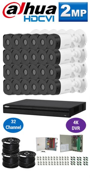 2MP Custom DAHUA HDCVI Package - 4K 32Ch DVR, 24 Bullet Cameras