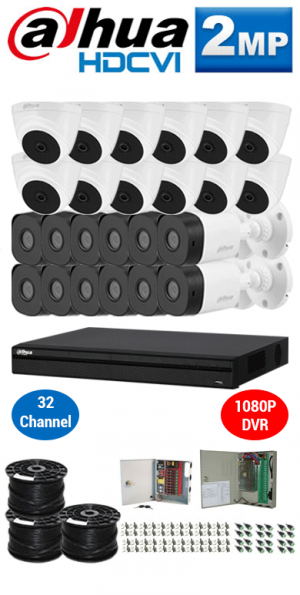2MP Custom DAHUA HDCVI Package - 2MP 32Ch DVR, 24 Bullet & Dome Cameras