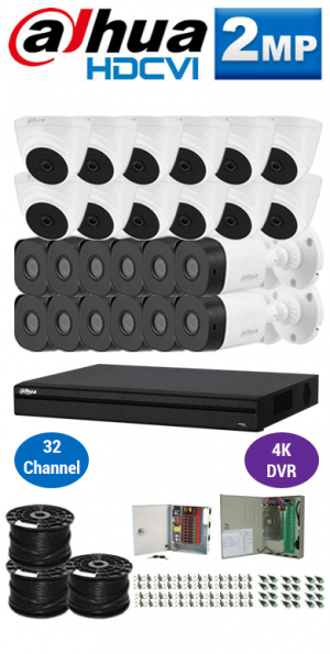 2MP Custom DAHUA HDCVI Package - 4K 32Ch DVR, 24 Bullet & Dome Cameras