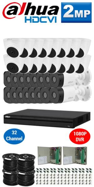 2MP Custom DAHUA HDCVI Package - 2MP 32Ch DVR, 32 Bullet & Dome Cameras