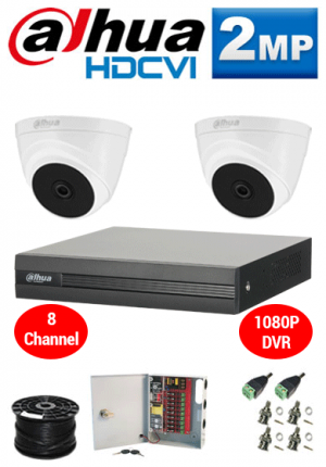 2MP Custom Dahua HDCVI Package - 1080P 8Ch DVR, 2 Dome Cameras