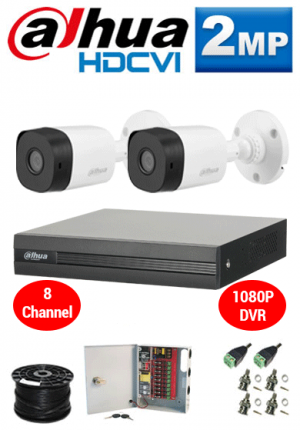 2MP Custom Dahua HDCVI Package - 1080P 8Ch DVR, 2 Bullet Cameras