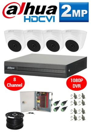 2MP Custom Dahua HDCVI Package - 1080P 8Ch DVR, 4 Dome Cameras