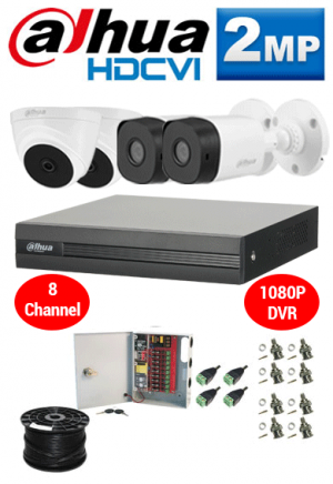 2MP Custom Dahua HDCVI Package - 1080P 8Ch DVR, 4 Bullet & Dome Cameras