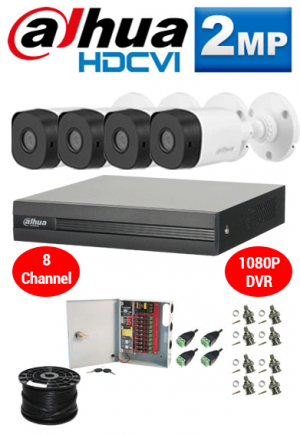 2MP Custom Dahua HDCVI Package - 1080P 8Ch DVR, 4 Bullet Cameras