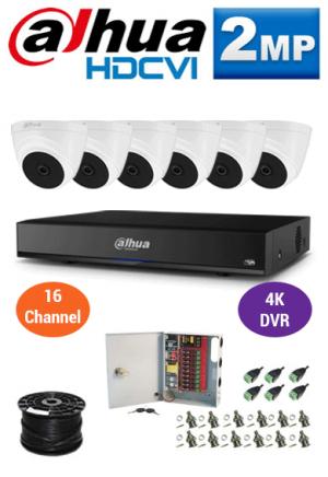 2MP Custom Dahua HDCVI Package - 4K 16Ch DVR, 6 Dome Cameras