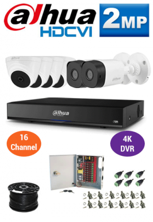 2MP Custom Dahua HDCVI Package - 1080P 16Ch 4K DVR, 6 Bullet and Dome Cameras