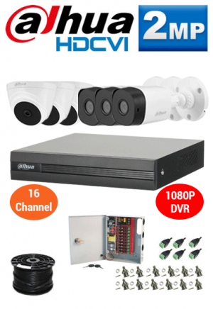 2MP Custom Dahua HDCVI Package - 1080P 16Ch DVR, 6 Dome and Bullet Cameras