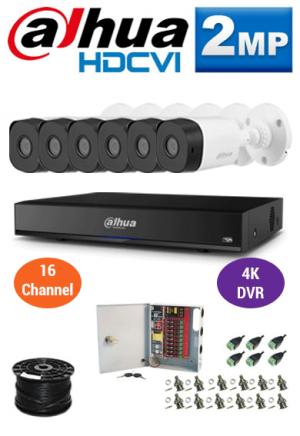 2MP Custom Dahua HDCVI Package - 4K 16Ch DVR, 6 Bullet Cameras