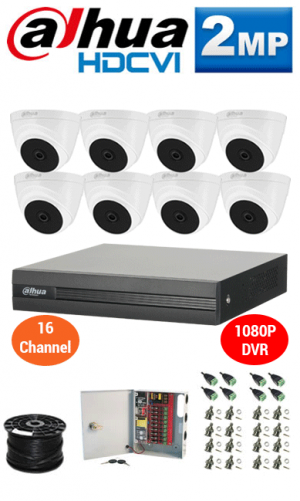 2MP Custom DAHUA HDCVI Turbo HD Package - 1080P 16Ch DVR, 8 Dome Cameras