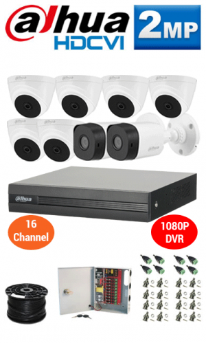 2MP Custom Dahua HDCVI Package - 1080P 16Ch DVR, 8 Bullet & Dome Cameras
