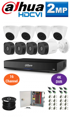 2MP Custom Dahua HDCVI Package - 1080P 16Ch 4K DVR, 8 Bullet & Dome Cameras