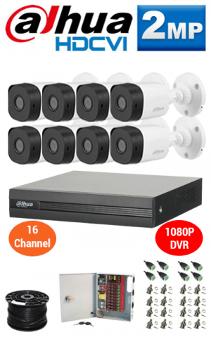 2MP Custom Dahua HD Package - 1080P 16Ch DVR, 8 Bullet Cameras