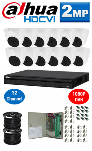2MP Custom DAHUA Turbo HD Package - 1080P 32Ch DVR, 12 Dome Cameras
