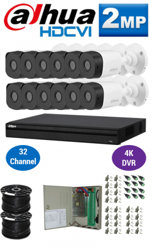 2MP Custom DAHUA Turbo HD Package - 4K 32Ch DVR, 12 Bullet & Dome Cameras