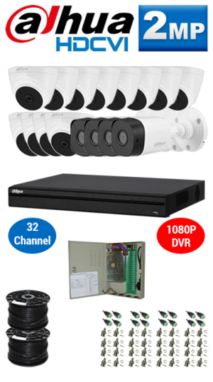 2MP Custom DAHUA Turbo HD Package - 1080P 32Ch DVR, 16 Bullet & Dome Cameras