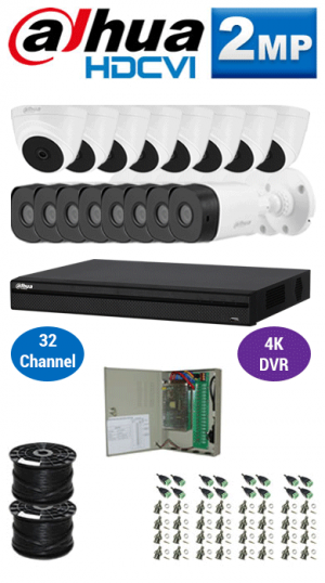 2MP Custom DAHUA Turbo HD Package - 4K 32Ch DVR, 16 Bullet & Dome Cameras