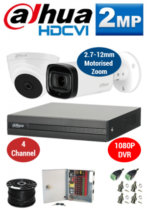 2MP Custom Dahua HDCVI Package - 1080P 4Ch DVR, 2 60m IR Motorised Bullet & Dome Cameras