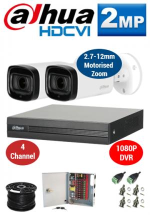 2MP Custom Dahua HDCVI Package - 1080P 4Ch DVR, 2x 60m IR Motorised Zoom Bullet Cameras