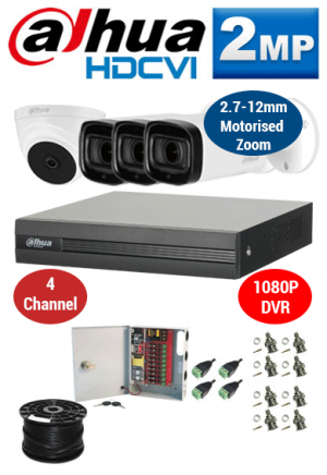 2MP Custom Dahua HDCVI Package - 1080P 4Ch DVR, 3x 60m IR Motorised Zoom Bullet Cameras & Dome Camera