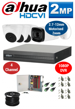 2MP Custom Dahua HDCVI Package - 1080P 4Ch DVR, 60m IR Motorised Zoom Bullet Camera & Dome Cameras