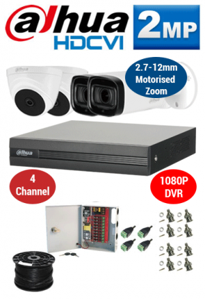 2MP Custom Dahua HDCVI Package - 1080P 4Ch DVR, 2x 60m IR Motorised Zoom Bullet Cameras & Dome Cameras